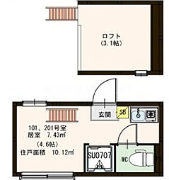 都営三田線 西巣鴨駅 徒歩11分の賃貸アパート 2階ワンルームの間取り