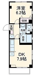 JR南武線 稲田堤駅 徒歩10分の賃貸マンション 2階1DKの間取り