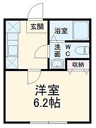 小田急小田原線 登戸駅 徒歩5分の賃貸アパート 1階1Kの間取り