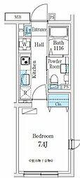 東急大井町線 荏原町駅 徒歩9分の賃貸マンション 3階1Kの間取り