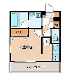 東急目黒線 西小山駅 徒歩10分の賃貸マンション 1階ワンルームの間取り