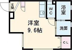 ARK岩塚駅南 C棟 3階ワンルームの間取り