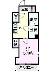 名古屋市営東山線 亀島駅 徒歩7分の賃貸マンション 3階1Kの間取り