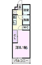 名鉄名古屋本線 栄生駅 徒歩5分の賃貸マンション 2階1Kの間取り