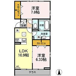 仮称D-room六町SU 1階2LDKの間取り