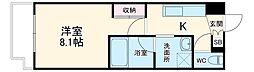 名古屋市営名港線 六番町駅 徒歩10分の賃貸マンション 2階1Kの間取り