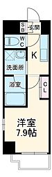 名古屋市営名港線 六番町駅 徒歩10分の賃貸マンション 4階1Kの間取り