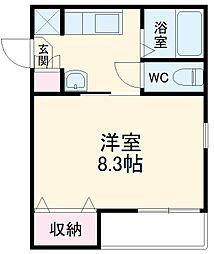 AZEST-RENT桜本町II 3階1Kの間取り