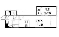 JR香椎線 宇美駅 徒歩4分の賃貸マンション 1階1LDKの間取り