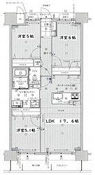 JR篠栗線 柚須駅 徒歩15分の賃貸マンション 5階3LDKの間取り