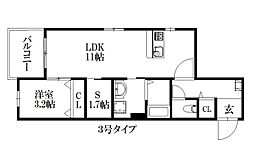 JR篠栗線 門松駅 徒歩3分の賃貸マンション 4階1SLDKの間取り