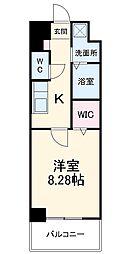 ガイドウェイバス志段味線 大曽根駅 徒歩17分の賃貸マンション 4階1Kの間取り
