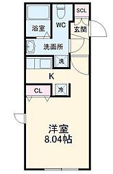 名古屋市営名城線 東別院駅 徒歩4分の賃貸マンション 4階ワンルームの間取り