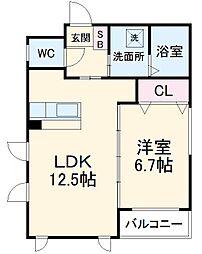 JR東海道本線 熱田駅 徒歩5分の賃貸マンション 1階1LDKの間取り