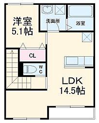 小田急小田原線 秦野駅 バス7分 名古木停下車 徒歩4分の賃貸アパート 2階1LDKの間取り