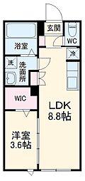 TM-COURT 1階1LDKの間取り
