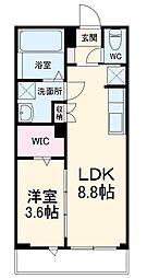 TM-COURT 3階1LDKの間取り
