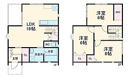 渋沢CASITA B棟 1階3LDKの間取り