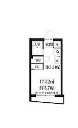 小田急小田原線 喜多見駅 徒歩2分の賃貸マンション 3階ワンルームの間取り