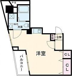 小田急小田原線 千歳船橋駅 徒歩21分の賃貸マンション 6階ワンルームの間取り