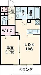 カルム弐番館 2階1LDKの間取り