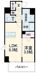 JR鹿児島本線 笹原駅 徒歩18分の賃貸マンション 3階1LDKの間取り