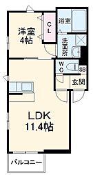 JR鹿児島本線 竹下駅 徒歩12分の賃貸アパート 1階1LDKの間取り