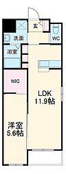 西鉄天神大牟田線 雑餉隈駅 徒歩7分の賃貸マンション 3階1LDKの間取り