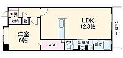 西鉄天神大牟田線 春日原駅 徒歩8分の賃貸マンション 9階1LDKの間取り