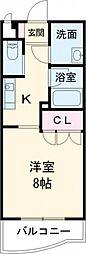 東武伊勢崎線 新伊勢崎駅 3.2kmの賃貸マンション 3階1Kの間取り