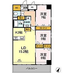 福岡市地下鉄空港線 天神駅 徒歩10分の賃貸マンション 3階3LDKの間取り