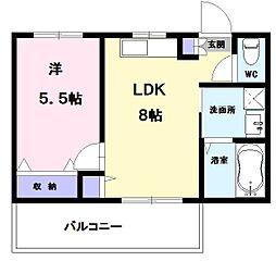 コーポENWA 1階1LDKの間取り