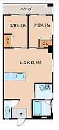 沖縄都市モノレール 小禄駅 徒歩37分の賃貸マンション 3階2LDKの間取り