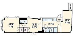 横浜市営地下鉄ブルーライン 阪東橋駅 徒歩5分の賃貸マンション 4階3Kの間取り