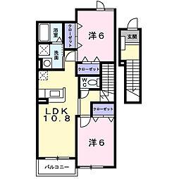 ラ・ボーレA 2階2LDKの間取り