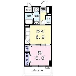 シャルマン リヴェール 2階1DKの間取り