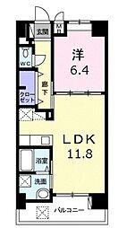 モダンテラス中央 4階1LDKの間取り