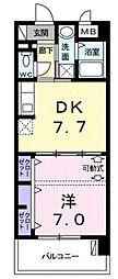 モダンテラス中央 5階1DKの間取り