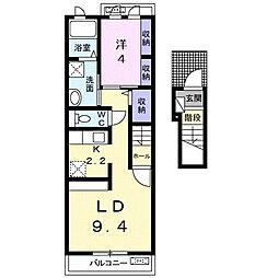 JR東海道本線 豊橋駅 バス22分 飯村東下車 徒歩2分の賃貸アパート 2階1LDKの間取り