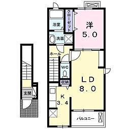 JR東海道本線 清水駅 バス28分 三保松原入り口下車 7.3kmの賃貸アパート 2階1LDKの間取り