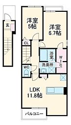 名鉄小牧線 小牧原駅 徒歩18分の賃貸アパート 2階2LDKの間取り