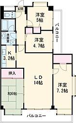 JR山手線 駒込駅 徒歩6分の賃貸マンション 3階4LDKの間取り