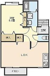 東京都青梅市今寺3丁目の賃貸アパートの間取り