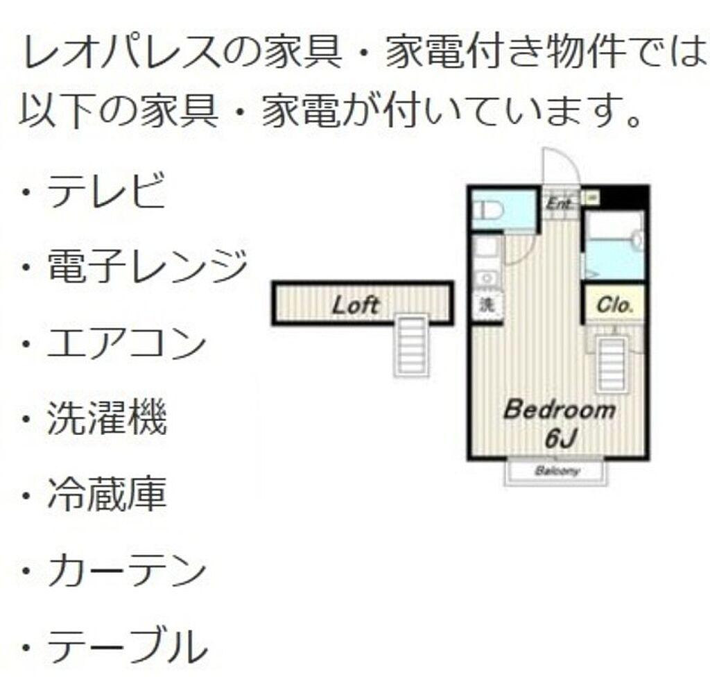 間取り(敷金無料、仲介手数料無料、家具、家電付きのお部屋です)