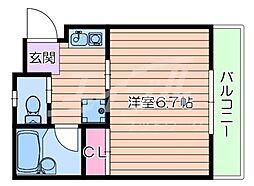 Osaka Metro御堂筋線 江坂駅 徒歩14分の賃貸マンション 2階1Kの間取り