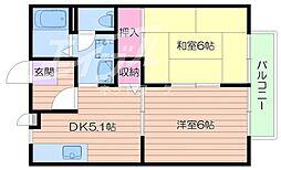 大阪府箕面市外院1丁目の賃貸アパートの間取り