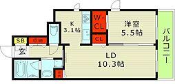 Osaka Metro今里筋線 新森古市駅 徒歩3分の賃貸マンション 4階1LDKの間取り