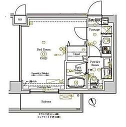 東武東上線 ときわ台駅 徒歩10分の賃貸マンション 5階1Kの間取り