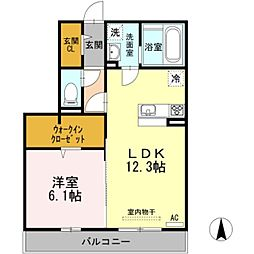 JR信越本線 茨目駅 徒歩19分の賃貸アパート 2階1LDKの間取り