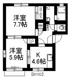 MAST 第2サンハイツ田中B[102号室]の間取り